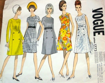 Vintage 1960s Sewing Pattern Vogue Basic Design 1773 A-Line Empire Dress High Waist Princess Seams Womens Misses Bust 34 Uncut Factory Folds