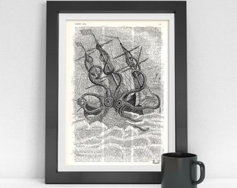 Summer Sale wall art  print Old Style Kraken Giant Octopus Print dictionary page Wall art octopus monster wall decor octopus print SEA079