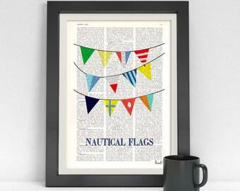 Summer Sale Nautical Flags print on  Dictionary Page Original collage Nautical flags Print, art print, beach house decor, nautical SEA050
