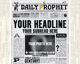 Custom Daily Prophet Front Page Printable PDF | Potter Save the Date | Potter Baby Announcement | Not An Instant | Not Editable