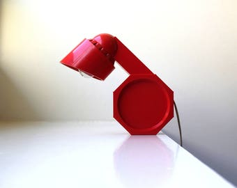 Mid Century Mod Red Plastic Lamp Adjustable High Intensity Pop Art 1975