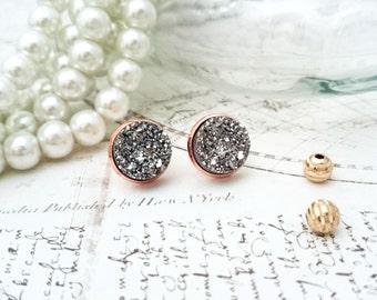 Silver Druzy Resin Earrings - Silver Coloured Earrings, Mix and Match Earrings