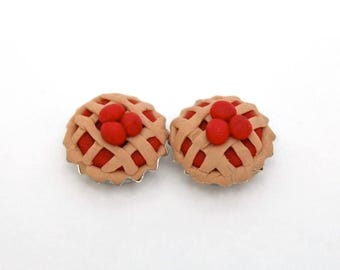 Cherry Pie Earrings / Mini Pie / Kawaii Miniature Food / Cute Pie Earrings / Kitschy Earrings