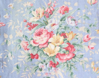 Vintage Sky Blue Nubby Floral Cabbage Roses Vintage Barkcloth Fabric Custom Decorative Throw Pillow