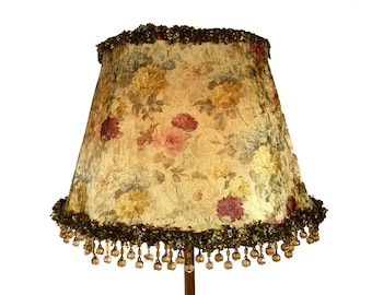 Lamp Shade Fancy Oval Floral Velvet Custom Fringe Hand Made Lampshade in NYC