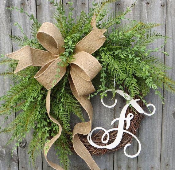Wreath Great for All Year Round - Fern Wreath - Everyday Burlap Wreath, Wild Boxwood Wreath, Front Door Wreath