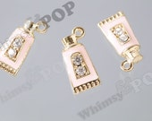 3D Gold Tone Pink Lotion Sunblock Toothpaste Pendant Rhinestone Charm, Cosmetic Bottle Charm, 8mm x 17mm  (3-1D)