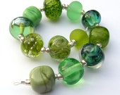 Handmade lampwork glass bead set of 12 green renegade beads - lampwork orphan beads