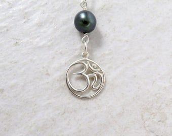 Tahitian Pearl Necklace, Om Symbol Pendant, Sterling Silver Chain, Handmade Maui, Yoga Jewelry, Christmas Gift Love, Genuine Black Pearls