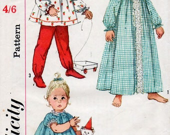 1960s Infants Pajamas & Nightgown Pattern Simplicity 4719 Child's Vintage Sewing Pattern Baby's Pyjamas and Robe Size 6 Months