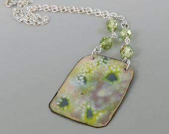 Enameled Copper Necklace w Czech Glass Beads, Copper Necklace, Metalwork Jewelry