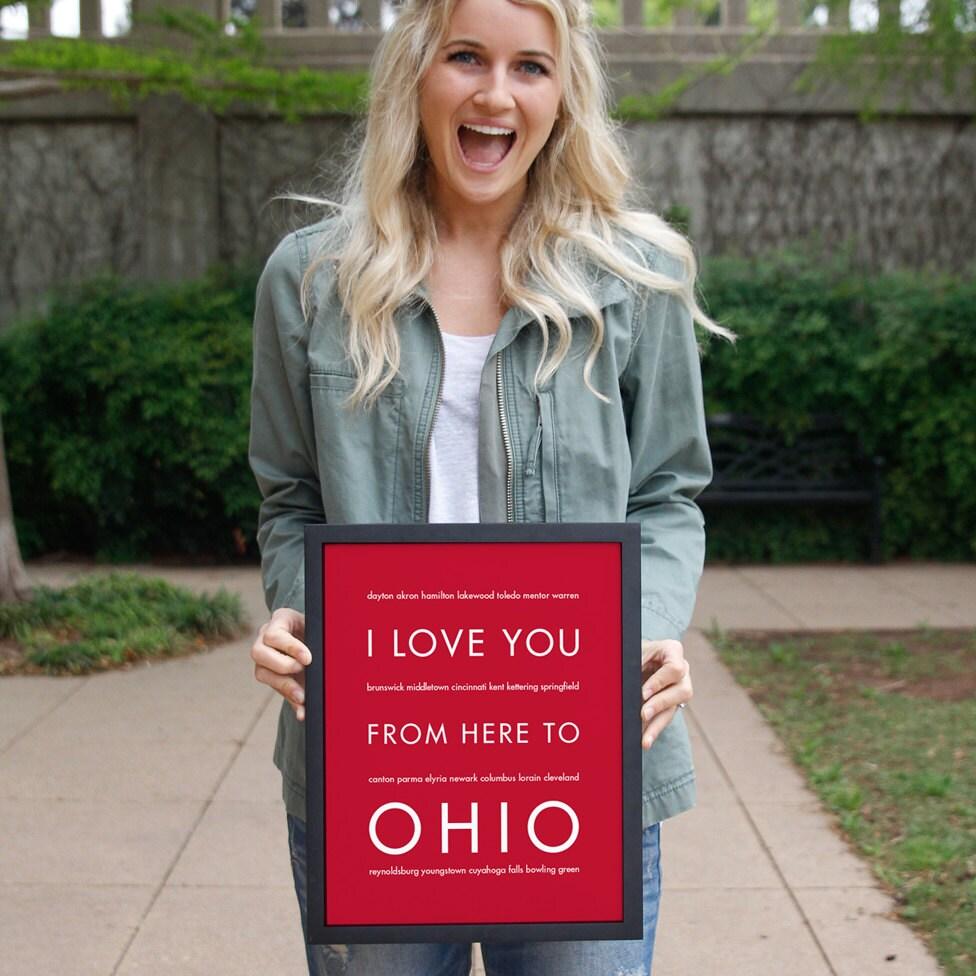 Personalized Travel Gift Ohio State Wall Decor Housewarming