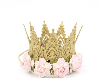 Ready to Ship ||mini GOLD Harlow with palest pink flowers || lace crown headband