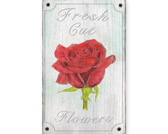 Fresh Cut Flowers wood sign- home decor -  Rustic weathered wood sign Country Kitchen decor - Flowers Fruit and vegetable - Rose flower