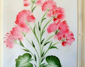 Floral Acrylic Painting with Pink Florals and Green Leaves - Hand Painted
