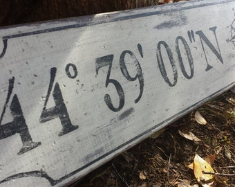 Personalized Latitude Longitude Wood Sign With Nautical Compass- Hand Crafted Custom Wooden Rustic Decor