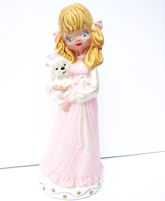 Vintage Kitsch Figurine of Girl in Pink Dress with White Dog