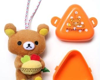 Rilakkuma accessory set of 2 (plush charm and mini orange storage)