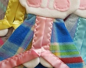 READY TO SHIP Rainbow Plaid Fisher Price Bunny Puppet Security Blanket Lovey
