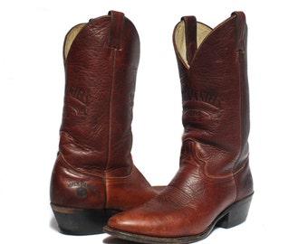 9 D | Men's Vintage Jack Daniels Western Boots Brown Leather Old 7 Cowboy Boot