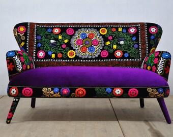 Suzani 2-seater sofa - purple love