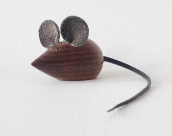 Mid Century Teak Mouse with Green Rhinestones Eyes Leather Ears and Tail