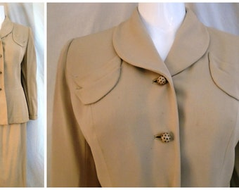 Vintage 1940s Gabardine Suit Ted Stein Label Classic Joan Crawford