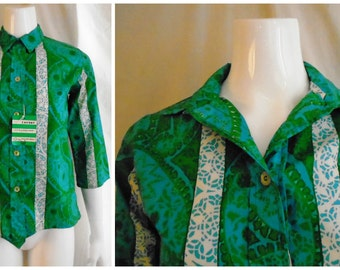 Vintage 1960s Blouse Deadstock Cotton Print Top Green and Blue NWT Rockabilly Medium