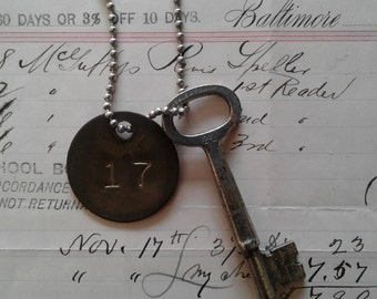 Vintage Skeleton Key and Vintage Metal Tag on Ball Chain Necklace