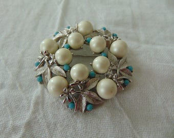 vintage sarah coventry brooch faux turquoise pearls silver signed