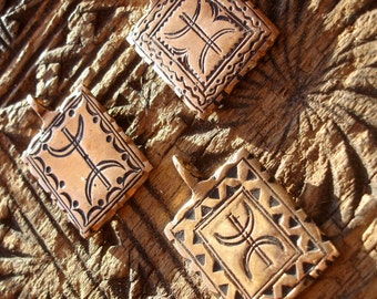Copper Moroccan shiny hand engraved square pendant with free man zeed alphabet