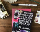 I'm Sorry & I'm Here - hand lettered encouragement greeting card - with coordinating envelope - perfect for encouragement, sympathy, friends