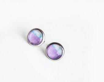 Purple Blue Studs, Lavender, Stud Earrings, Purple Studs, Blue Studs, Purple, two tone earrings, modern, Purple Earrings,