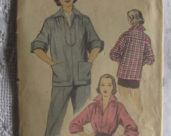 Vintage 50s Sewing Pattern Advance 5859 Sz M Smock Jacket Zipper Front 3/4 Sleeve