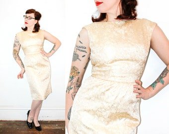 Vintage 1960s gold dress . Gold Leaf . 1960s brocade dress . gold brocade wiggle dress . sm / md