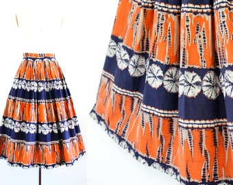 Vintage 1950s batik skirt . Reflections in a Golden Eye . 1950s ethnic print skirt . batik print tourist skirt sm / small