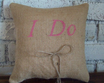 Burlap Ring Bearer Pillow for Rustic, Country, Barn, Outside, Wedding, I Do, Wedding Decor, Choice of Colors, Summer or Fall Wedding Pillow