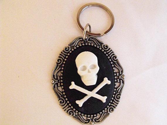 Key Chain,  Gothic Skull and Crossbones Cameo  Mens Womens Gift  Handmade
