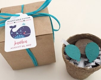 Whale Seed Paper Favors - 25 plantable seed paper boxed personalized fish favors/gifts - Assembly required