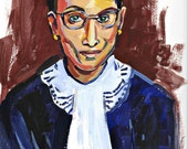 """RBG Painting, Ruth Bader Ginsburg, Giclee Art Print, 12"""" x 9"""" Acrylic Portrait, Notorious!"""