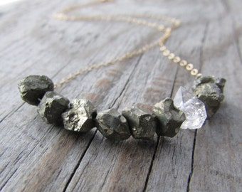 Raw Pyrite Necklace, small, unpolished nuggets of pyrite, herkimer diamond and gold, swing necklace,