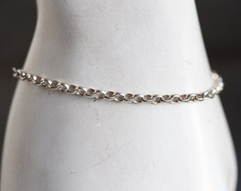 Simple Chain Bracelet - Sterling Silver Oval Rolo Chain - Vintage Jewelry