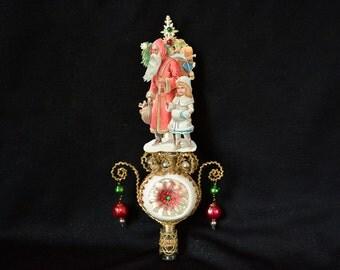 victorian christmas tree topper, santa topper, victorian style christmas topper, victorian topper, victorian santa topper - JINGLE BELLS