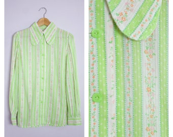 Vintage 1960's Lime Green + Floral Stripe Butterfly Dog Ear Collar Button Front Blouse M
