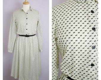 Vintage 1970's Black + White Long Sleeve Midi Belted Shirt Dress M/L