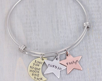Personalized Jewelry - Mom Jewelry - Personalized Bangle Bracelet Jewelry - Hand Stamped Name Bracelet - I love you to the moon and back