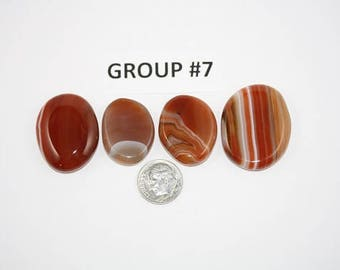 Polished Carnelian Agate Freeform Cabochons Pack of 4 - Group #7