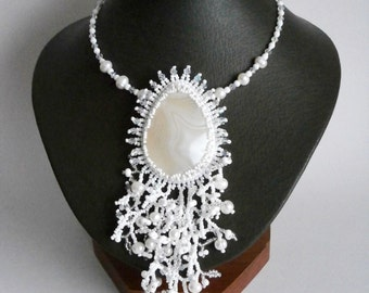 White Necklace, Agate Pearl Necklace, Statement Necklace, Beadwork Stone jewelry OOAK