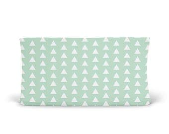 Changing Pad Cover Mint Triangle - ModFox Exclusive- Mint Changing Pad- Triangle Changing Pad- Soft Minky Changing Pad- Organic Changing Pad