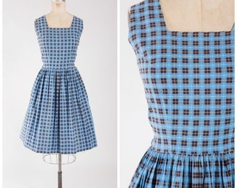Vintage 1950s Dress • Plaid Promises • Blue Printed Cotton 50s Day Dress with Full Skirt Size Large